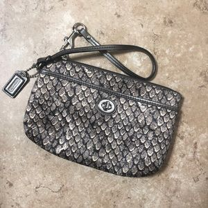 Coach Snake Skin Wristlet Bag Purse Clutch